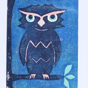 Owl Linocut Reduction Print