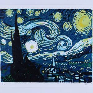 Starry Night Linocut Print