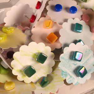 Square Glass Post Earrings