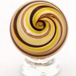 Glass Marble with Red & Tan Swirl