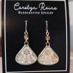 White/Gold Teardrop Earrings
