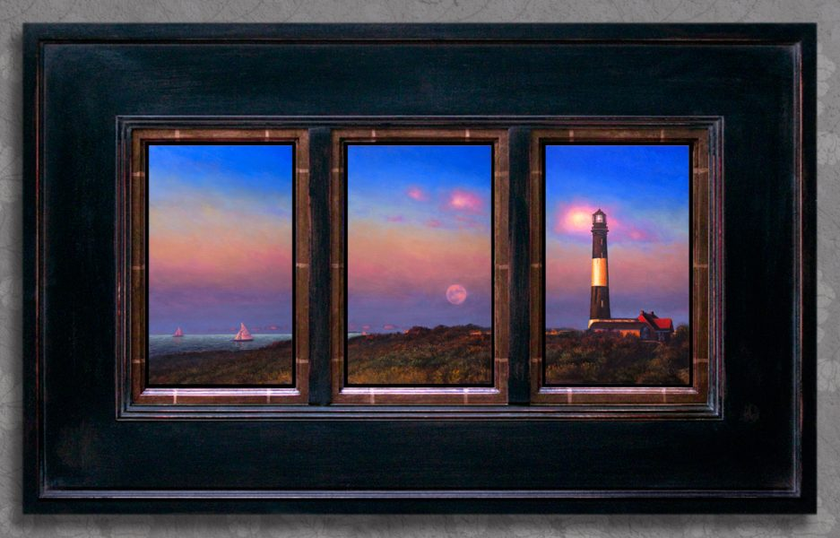 """MIKEL WINTERMANTEL - """"ONCE IN A PINK MOON"""" -  21""""X34"""" - TRIPTYCH - OIL ON COPPER -  VALUED AT $3800"""